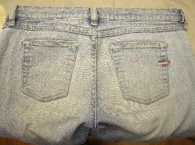 Ladies Diesel denim jeans had gone very thin on seat area, (hard to see on picture)