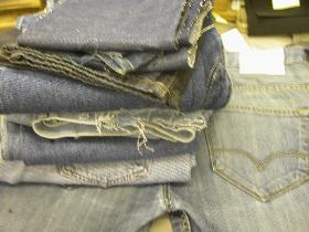 Compare denim stock for best colour match for repair work