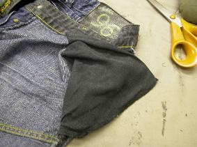 Trimmed away worn pocketing and stitched with over locked edge, for a more robust finish