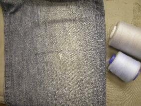 Fused from inside the jean, thread colours compared